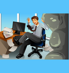 Businessman between rock and hard place concept vector