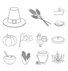 canada thanksgiving day outline icons in set vector image