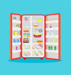 cartoon opened refrigerator full of food vector image