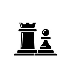 chess pieces rook and pawn black icon sign vector image