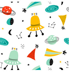 childish seamless pattern with aliens ufo vector image