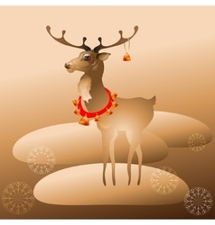 Christmas deer with bells vector image