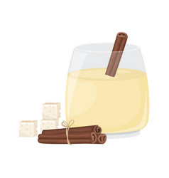 Christmas egg nog in a glass glass and cinnamon vector
