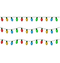 christmas lights string color garland set vector image