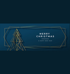 christmas new year gold art deco pine tree banner vector image