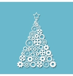 Christmas tree f gears vector image