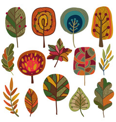 collection autumn leaves and trees vector image