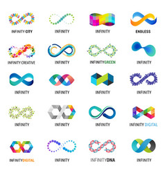 Colorful abstract infinity endless symbols and vector