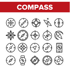 Compass navigation collection icons set vector