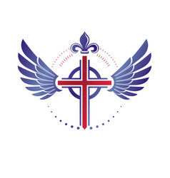 Cross of christianity religion emblem composed vector