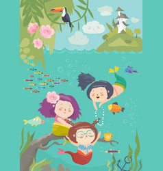 cute cartoon mermaids with beautiful underwater vector image