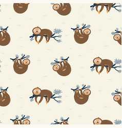 cute sloth on tree branches seamless pattern vector image