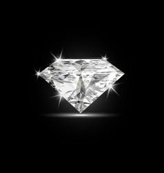 Dazzling diamond on black shiny background vector