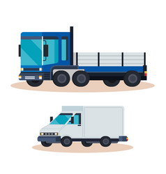 delivery service truck with van vector image