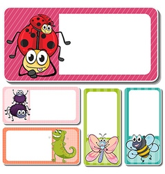 Different insects on square labels vector