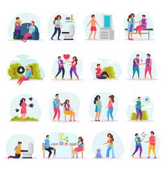 Diseases transmission ways flat icons vector