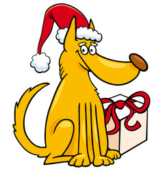dog with christmas gift cartoon vector image