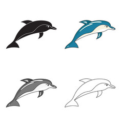 Dolphin icon in cartoon style isolated on white vector