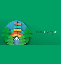 eco tourism paper cut banner outdoor travel vector image