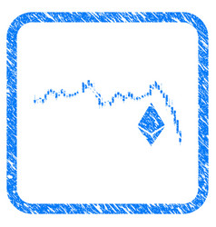 Ethereum falling chart framed stamp vector