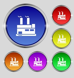 Factory icon sign Round symbol on bright colourful vector