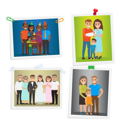 Family special day photos inoculated on white vector