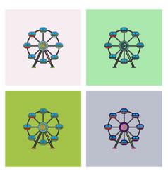 Ferris wheel icon set vector
