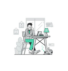 Freelancer work from home flat concept vector
