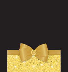 gold sparkling rhinestone bow blank vector image