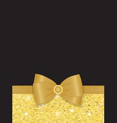 Gold sparkling rhinestone bow blank vector