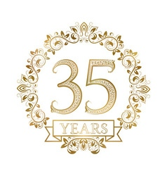 Golden emblem of thirty fifth years anniversary in vector