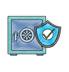 Grated strong box object with shield security vector