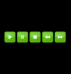 Green white square music control buttons set vector