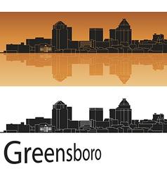 Greensboro skyline in orange background vector