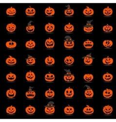 Halloween pumpkin 42 icons set vector image