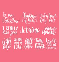 Hand lettering phrases take my heart hugs vector