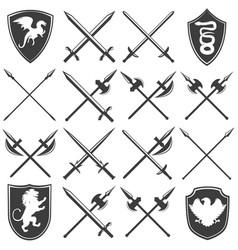 Heraldic armory graphic icons set vector