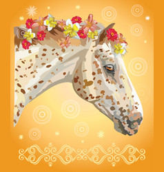 horse portrait with flowers10 vector image