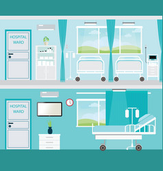 Hospital room with beds vector