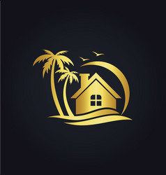 Hotel home resort beach gold logo vector