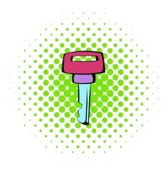 Ignition key icon comics style vector