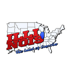 illinois state with us illinois state on american vector image