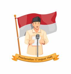 Indonesian first president bung karno speech icon vector