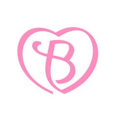 Initial b love ribbon vector