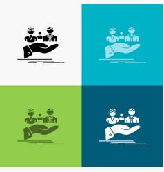 insurance health family life hand icon over vector image