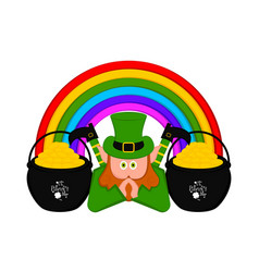 Irish elf with gold coins pots and a rainbow vector