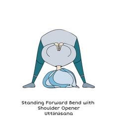 Kid yoga pose standing forward bend vector