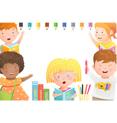 kids playing studying and drawing poster vector image