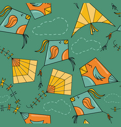 kites like birds seamless pattern vector image