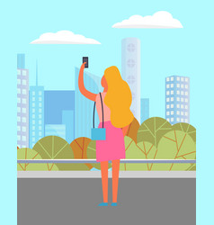 lady with smartphone in city technology vector image